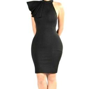 Black Ruffle Midi Body Con Dress Size Large